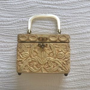 Handbags - Vintage wood carved purse